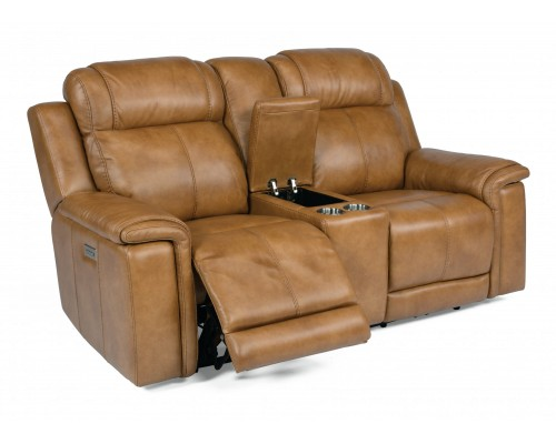 KINGSLEY POWER RECLINING LOVESEAT WITH POWER HEADREST AND CONSOLE