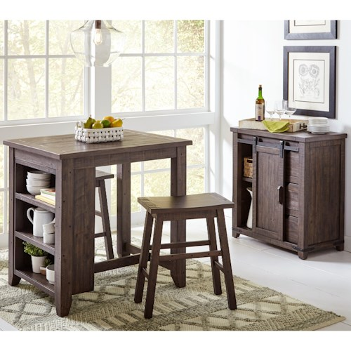 MADISON COUNTY COUNTER HEIGHT TABLE & 2 STOOLS