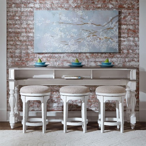 MAGNOLIA MANOR CONSOLE TABLE & 3 STOOLS