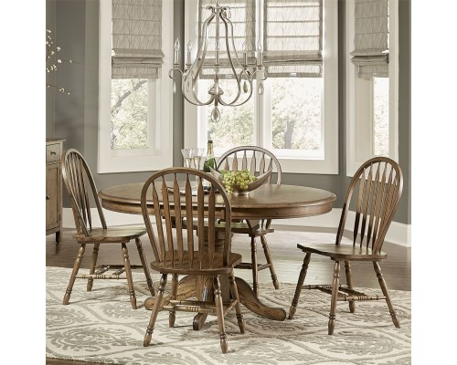 CAROLINA CROSSING PEDESTAL TABLE & 4 CHAIRS