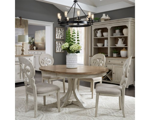 FARMHOUSE REIMAGINED PEDESTAL TABLE & 4 CHAIRS