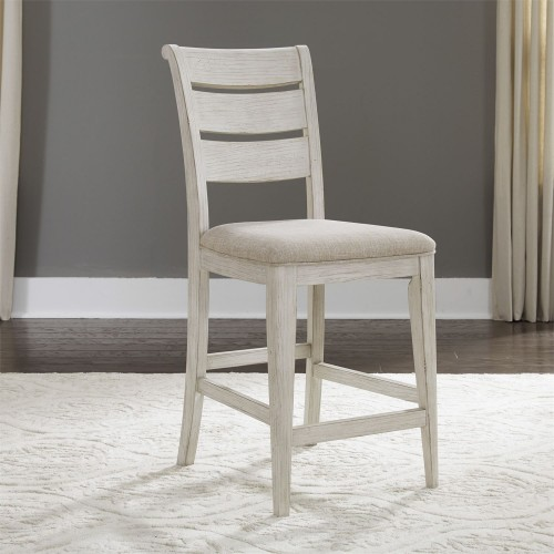 FARMHOUSE REIMAGINED UPHOLSTERED LADDER BACK COUNTER CHAIR