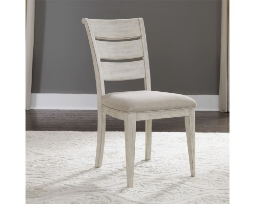 FARMHOUSE REIMAGINED UPHOLSTERED LADDER BACK SIDE CHAIR