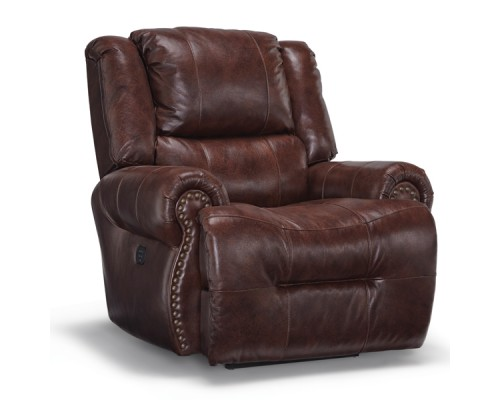 Genet Leather Power Rocking Recliner with Power Tilt Headrest and USB Charging Port